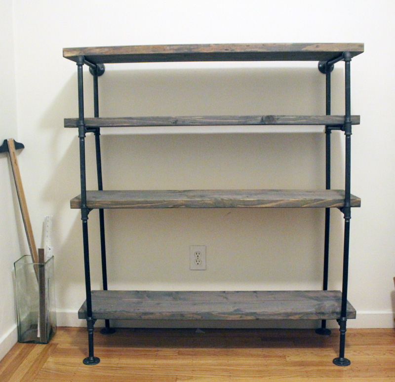 Diy rustic shelf building keen for Diy industrial bookshelf